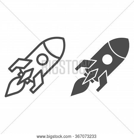 Rocket Launch Line And Solid Icon. Business Startup Symbol, Outline Style Pictogram On White Backgro