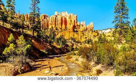 Water Of The Tropic Ditch Flowing Through The Vermilion Colored Pinnacles And Hoodoos At The Mossy C