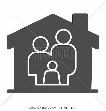 Family In House Solid Icon, Family At Home Concept, Parents And Child Sign On White Background, Safe