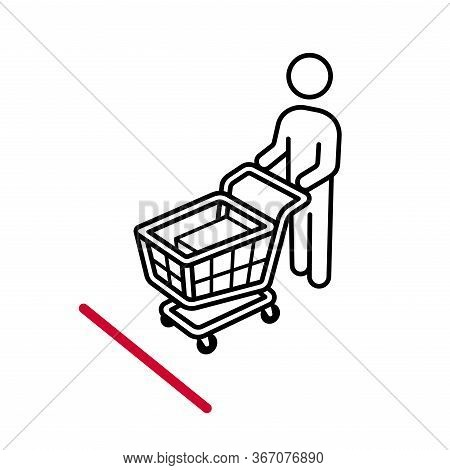 Shopping Cart Line Up Behind The Decal Marker Sticker On The Floor For Keep Social Distancing From C