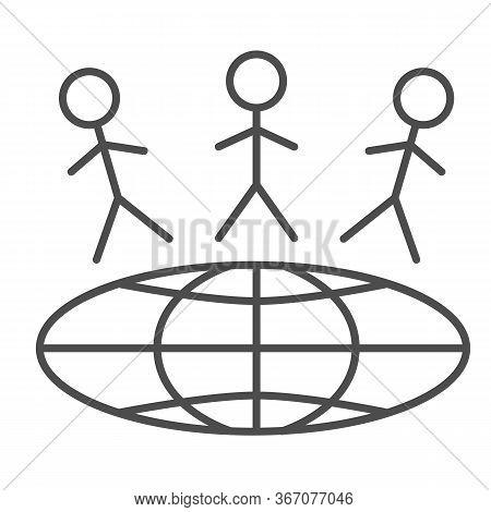 Children Around World Thin Line Icon, World Children Day Concept, Earth With Kids Vector Sign On Whi