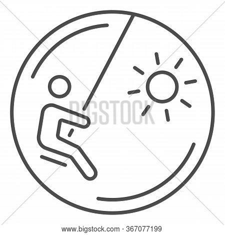 Child On A Swing Thin Line Icon, Playground Concept, Swinging Boy Vector Sign On White Background, C