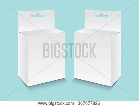 White Paper Packaging Box With Hanging Hole Vector, Package Design, 3D Box, Product Design, Realisti