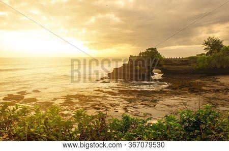 Beautiful Sunset View Of Pura Batu Bolong An Iconic Hinduism Sea Temple Nearly Tanah Lot Temple In B