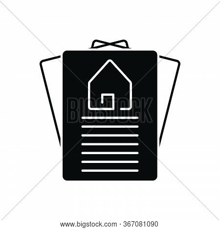 Black Solid Icon For Property-paper Property Paper Agreement Document Certify Home Real-estate