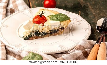 Homemade Spinach French Pie Quiche Lorraine. Delicious Breakfast Or Snack. Food Recipe Background