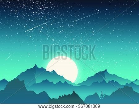 Sky Scenery Landscape, Mountains Peak With Moon And Meteor At Night, Blue And Green Tone