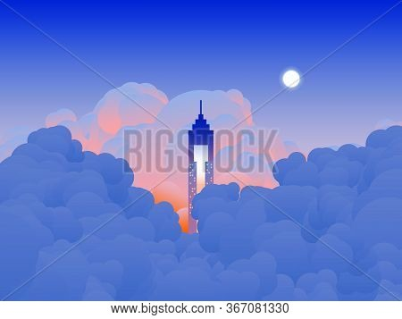 Sky Scenery Landscape, Tall Building Reaches The Clouds In Twilight Time, Orange And Blue Tone