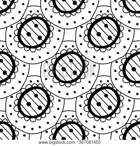 Black And White Seamless Pattern Of Decorative Circles. Abstract, Fantasy Items For Coloring.