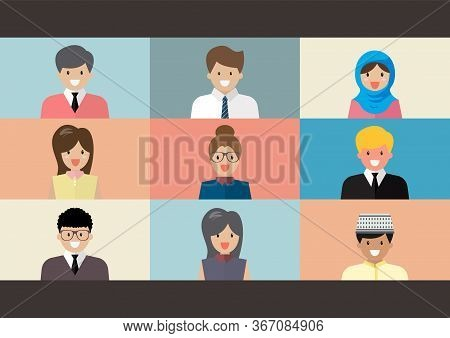 Video Conference Screen Flat Style. Cute People Flat Syle. Vector Illustration