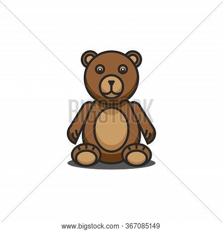 Teddy Bear Funny Cartoon Character Sitting With Legs Down, Brown Children Toy Isolated On White Back