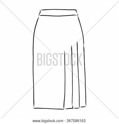 Vector Illustration Of Skirts. Womens Clothes. Womens Skirt, Vector Sketch Illustration