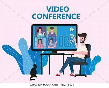 Man Worked From Home Video Conference People On Computer Screen Talking By Internet In Videocall, Ch