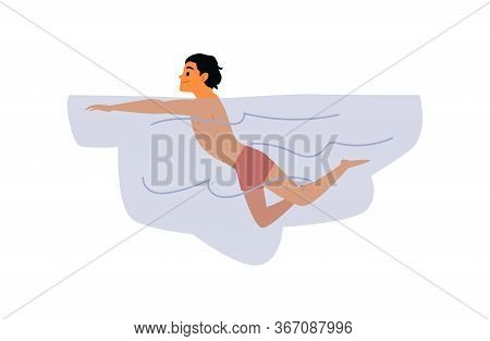 Man Swimmer Cartoon Character In Water, Flat Vector Illustration Isolated.