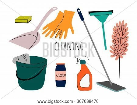 Cleaning Service Flat Illustration. Set Of Isolated Objects For House Cleaning Services With Various