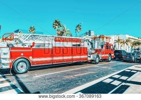 Beverly Hills Area And Fire Trucks, Hurry To Fire.