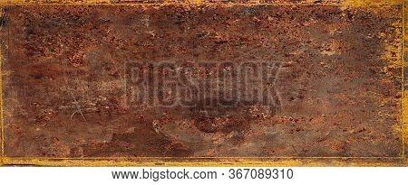 Dark Brown Background Texture In Old Vintage Paper Design With Black Border, Old Antique Metal Backg