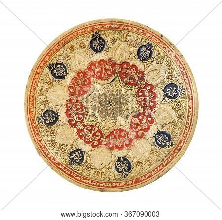 Top View Of Vintage Indian Handcrafted Embossed Brass Plate Isolated On White Background Handmade Ma