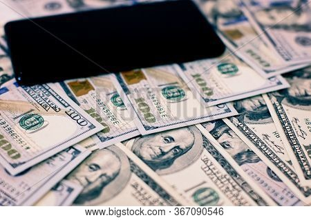 Money Investment Via Phone, Mobile Payments. Phone In Dollars . Phone Payments