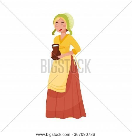 Young Medieval Female Peasant Carrying Jar Of Milk Vector Illustration