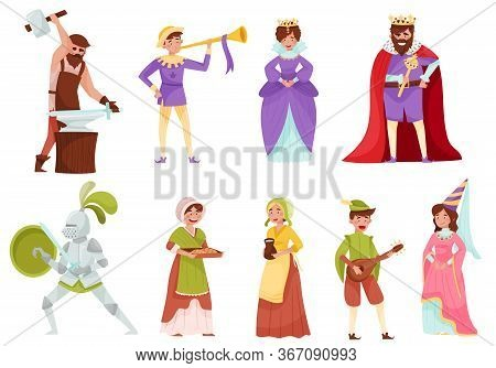 Medieval People Characters With Armoured Knight And Peasant Carrying Milk Vector Set