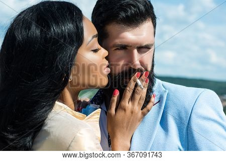Passion Dating And Love. Romantic Couple In Love Looking At Each Other. Feeling Desire. Passionate S