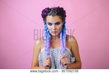 Kanekalon Strand In Braids. Girl With Two Pigtails, Portrait Of A Fashion Girl With Braids. Beautifu
