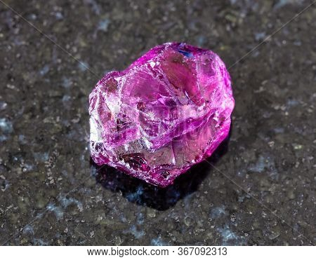 Closeup Of Sample Of Natural Mineral From Geological Collection - Raw Rhodolite (pyrope Garnet) Crys