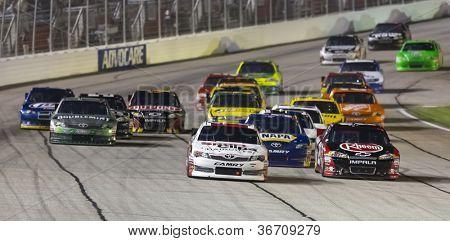ATLANTA, GA - SEP 02, 2012:  Denny Hamlin (11) races at the AdvoCare 500 at the Atlanta Motor Speedway in Hampton, GA on Sep 2, 2012.