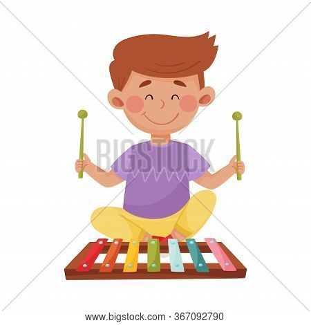 Little Boy Holding Sticks Playing Xylophone Vector Illustration