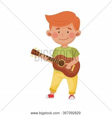 Red Haired Little Boy Playing Guitar Vector Illustration