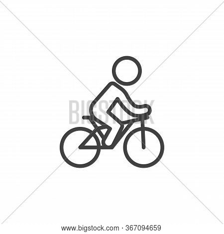 Bicycle Ride Line Icon. Linear Style Sign For Mobile Concept And Web Design. Man Riding Bike Outline