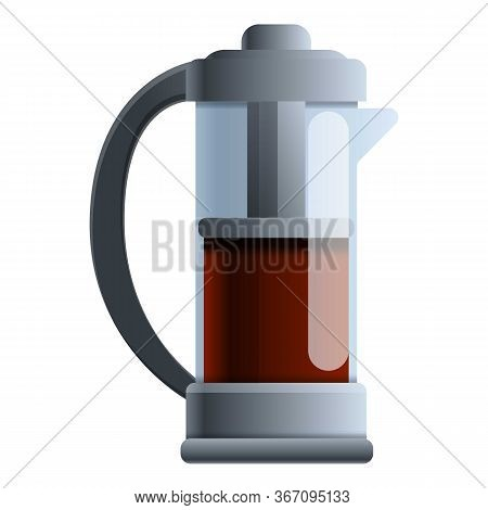 Tea Press Pot Icon. Cartoon Of Tea Press Pot Vector Icon For Web Design Isolated On White Background