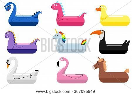 Animals Pool Float Rings. Kids Swimming Rings With Animal Heads. Baby Water Floating Duck And Flamin