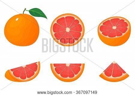 Set Of Fresh Whole, Half, Cut Slice Grapefruit Fruits Isolated On White Background. Summer Fruits Fo
