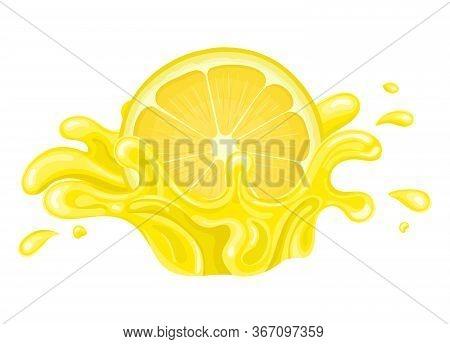 Fresh Bright Half Cut Lemon Juice Splash Burst Isolated On White Background. Summer Fruit Juice. Car