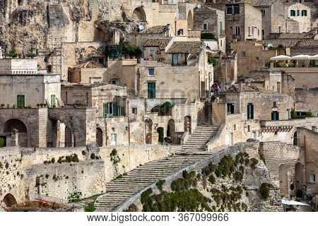 Matera, Italy - September 20, 2019: View Of The Sassi Di Matera A Historic District In The City Of M