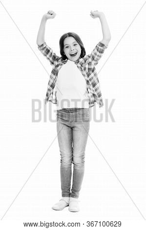 All The Power Of Being A Girl. Happy Girl Isolated On White. Little Girl Celebrate Victory. Fashion