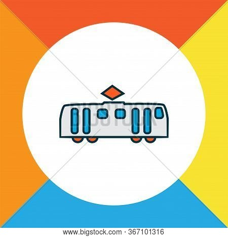 Tram Icon Colored Line Symbol. Premium Quality Isolated Tramway Element In Trendy Style.