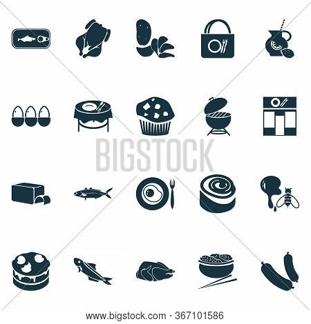 Eating Icons Set With Omelette, Sausage, Barbecue And Other Cafe Elements. Isolated Vector Illustrat