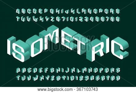 Isometric Alphabet Font. 3d Effect Wide Letters And Numbers. Stock Vector Typescript For Your Typogr