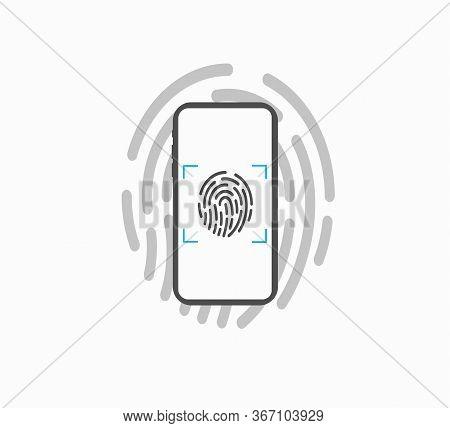 Fingerprint Identification - Unlock Smartphone Screen, Flat Vector Icon Isolated