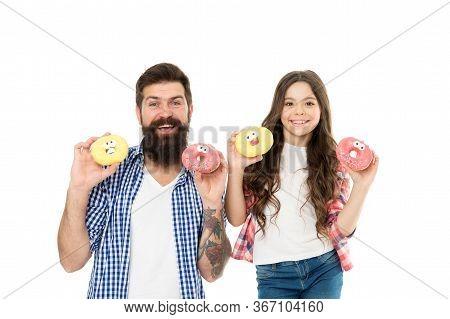 Come Taste The Paradise. Happy Family Hold Funny Donuts. Enjoying Food Taste. Taste Baked Dessert. B