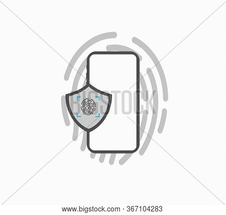 Fingerprint Flat Vector Icon Isolated. Security And Protection. Fingerprint Unlock Smartphone Screen
