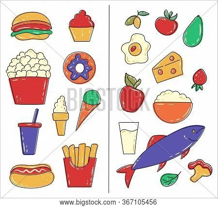 Healthy And Junk / Unhealthy Food. Fish, Cottage Cheese, Eggs, Fruits And Vegetables Vs Popcorn, Swe