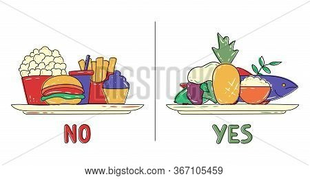Healthy And Junk / Unhealthy Food. Fish, Cottage Cheese, Fruits And Vegetables Vs Popcorn, Sweets An