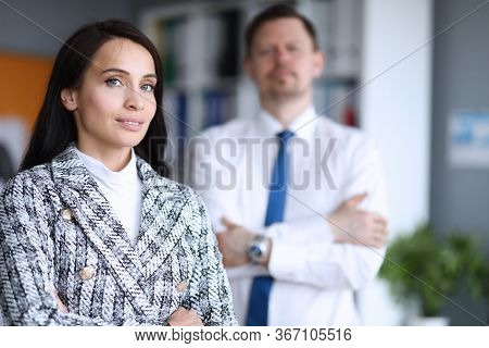 Portrait Of Businesswoman In Stylish Trendy Costume Posing In Company Office. Smiling Beautiful Work