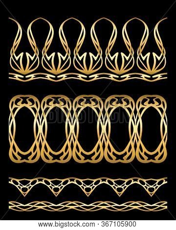 Set Of Seamless Borders In Art Nouveau Style, Vintage, Old, Retro Style In Gold Isolated On Black Ba
