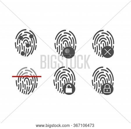A Large Set Of Fingerprints. Touch Screen And Security. Fingerprint Icon. Vector Illustration. Flat