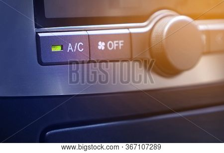 Air Conditioning And Climate Control In The Car Background With Botton Air Conditioner.